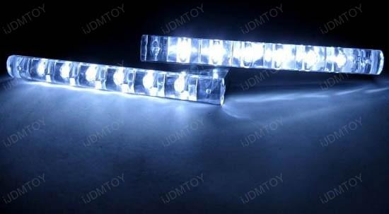 JDM Universal Fit Xenon White or Ultra Blue 6-LED Daytime Running Light Kit (aka LED Day Driving Cruising DRL Lamps)