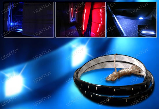 JDM Slim Ultra Blue/Xenon White/Brilliant Red/Light Green 12 inches 15LED Flexible LED Strip Lights for interior, under door or floor lighting