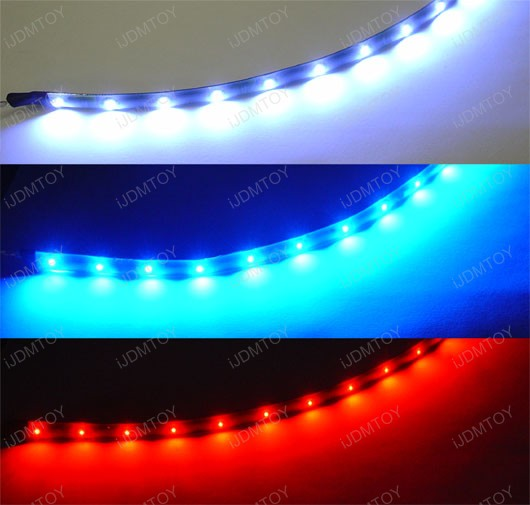 Flexbile led strip lights chevy impala led interior lights jdm slim ultra bluexenon whitebrilliant redlight green 12 inches 15led mozeypictures Images