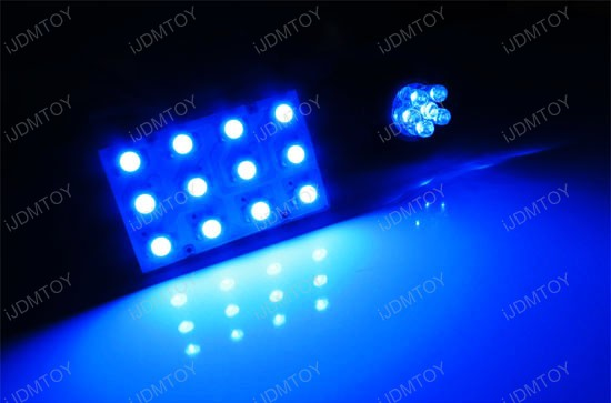 JDM Super Bright Xenon White, Ultra Blue or Brilliant Red Luxer1 12-SMD LED Interior Map/Dome Panel Lights, Fits 16