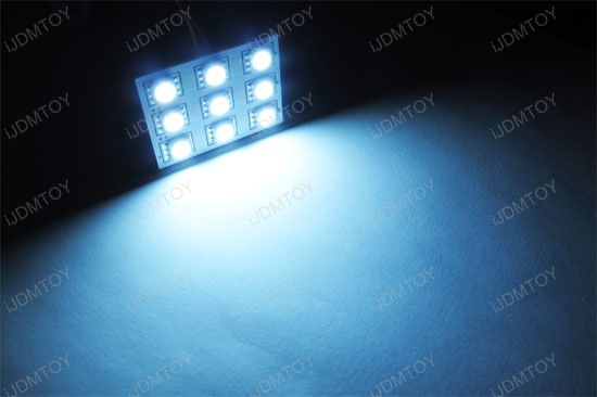 JDM Super Bright Xenon White or Ultra Blue Luxer1 9-SMD 3-Emitter 5050 LED Interior Map/Dome Panel Lights, Fits 168 2825 DE3175 6411 578 211-2 etc