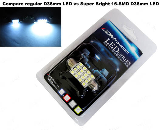 JDM Super Bright Xenon White or Ultra Blue 16-SMD 1210 D36mm Festoon LED bulb for 6411 or 6418