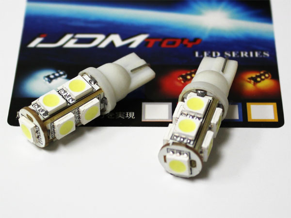 JDM 360-Degree Shine 9-SMD 5050 T10 LED Wedge Light Bulbs for 168 194 921 2825