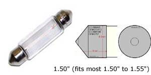 "D36mm (36mm-39mm) 1.50"" festoon bulb, will replace the following bulb size: C5W 6411 6413 6418 6461 6423 DE3423 DE3425, etc."