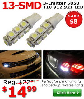 13-SMD-5050 T10 LED bulbs on sale