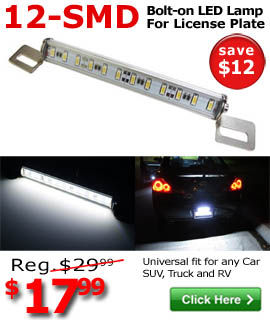 Bolt-on License Plate Light Lamp