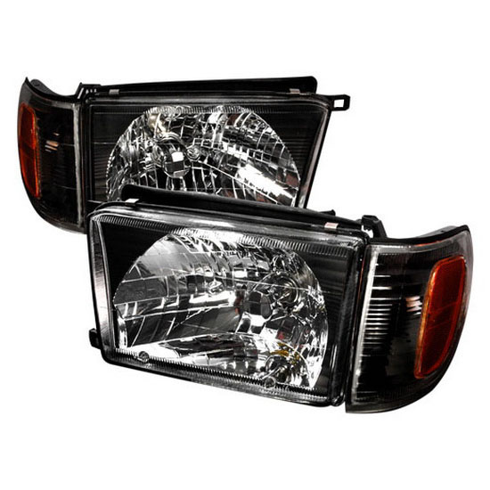 1999-2002 Toyota 4RUNNER Black Housing Euro Style Reflector Headlights