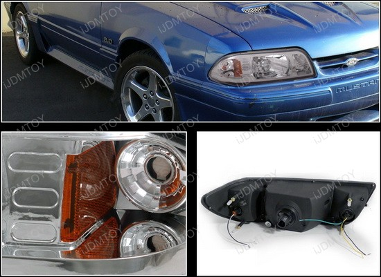 87-93 Ford Ford MUSTANG Chrome Housing Headlights