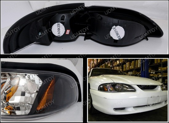 1994-1998 Ford MUSTANG Black Housing Style Reflector Headlights
