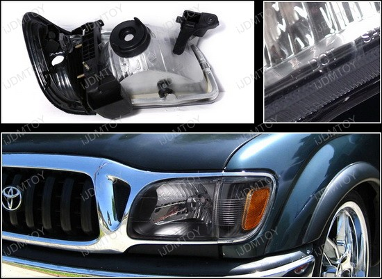 2001-2004 Toyota TACOMA Smoke Housing Euro Style Reflector Headlights