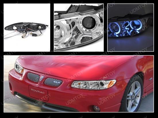 97-03 Pontiac Grand Prix Chrome Dual Halo Projector Headlights with LEDs