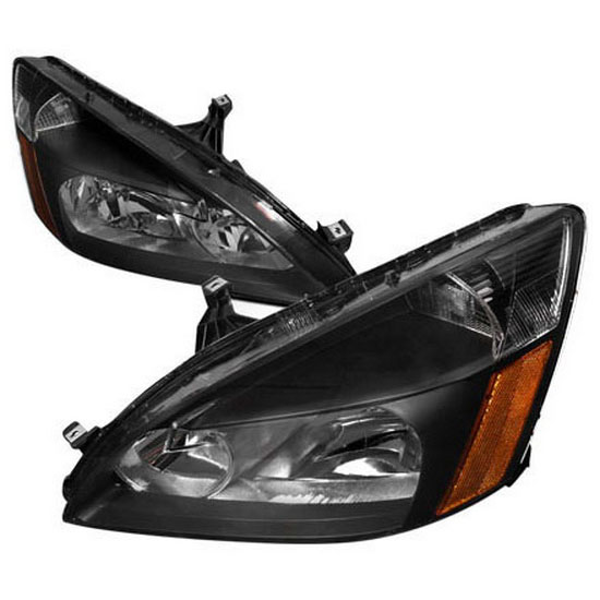 2003-2007 Honda ACCORD Black Housing Euro Style Reflector Headlights