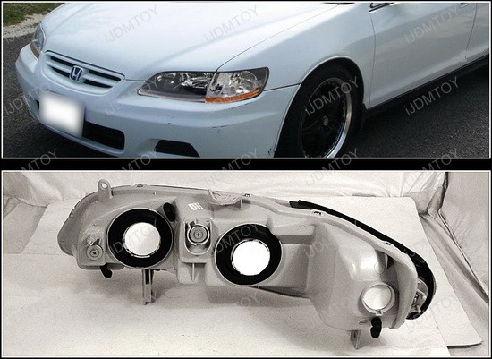1998-2002 Honda ACCORD Black Housing Euro Style Reflector Headlights