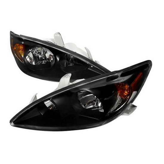 02-04 Toyota Camry Black Euro Headlights with Amber Reflectors