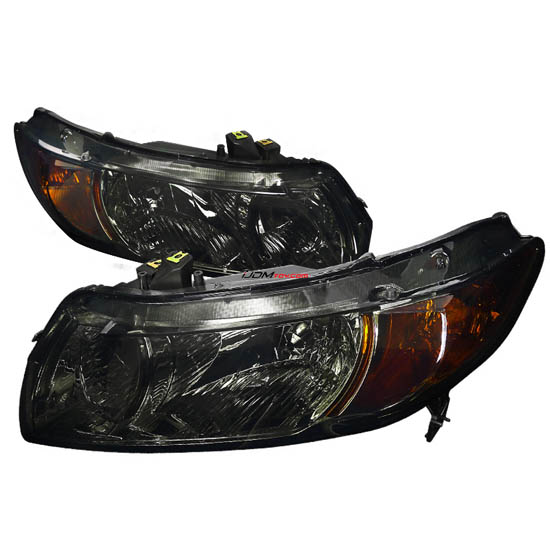 06-11 Honda CIVIC 2DR Chrome Housing Smoke Lens Euro Style Reflector Headlights