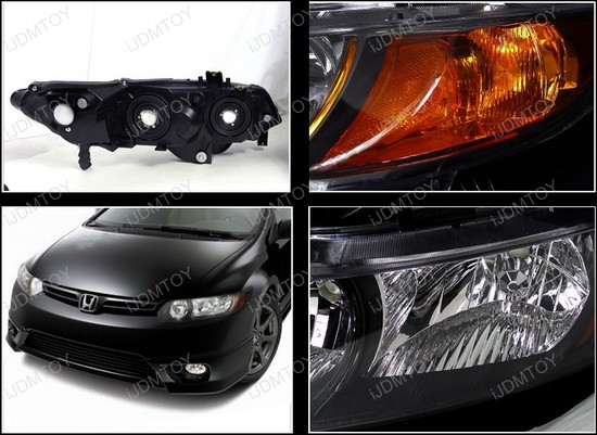 06-11 Honda CIVIC 2DR Black Housing Clear Lens Euro Style Reflector Headlights