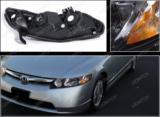 2006-2011 Honda CIVIC Black Housing Euro Style Reflector Headlights