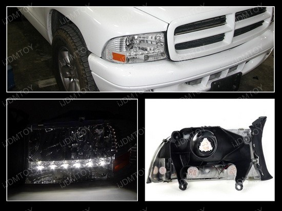 97-04 Dodge Dakota Chrome LED Headlights