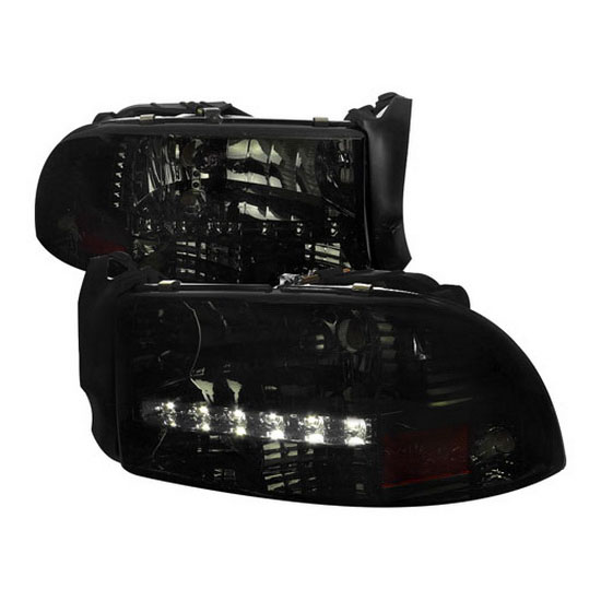 1997-2004 Dodge DAKOTA Smoke Housing Clear Lens Euro Style Reflector Headlights