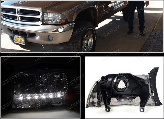 97 04 Dodge Dakota Black Housing Clear Lens Led Headlights