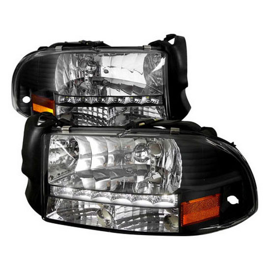 97-04 Dodge DAKOTA Black Housing Clear Lens LED Headlights