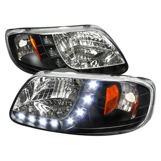 1997 2003 Ford F150 Expedition Black Housing One Piece Projector Headlights With Amber Reflector Corner