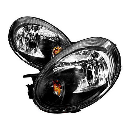 2003 2005 Dodge Neon Black Housing Euro Style Reflector Headlights