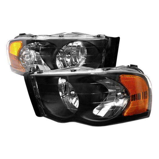 2002-2005 Dodge RAM Black Housing Euro Style Reflector Headlights
