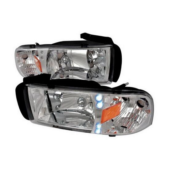 94-01 Dodge Ram Chrome Euro Headlights with LEDs