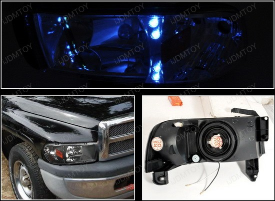 1994-2001 Dodge RAM Black Housing Euro Style Reflector Headlights