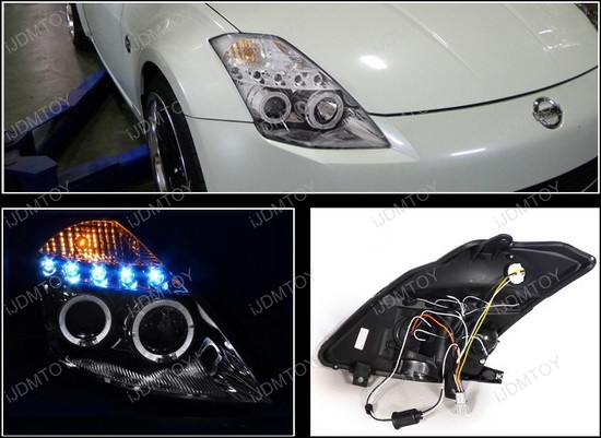 2LHP 350Z03 TM 4 03 05 nissan 350z chrome halo angel eyes projector led headlights 2003 nissan 350z headlight wiring harness at webbmarketing.co