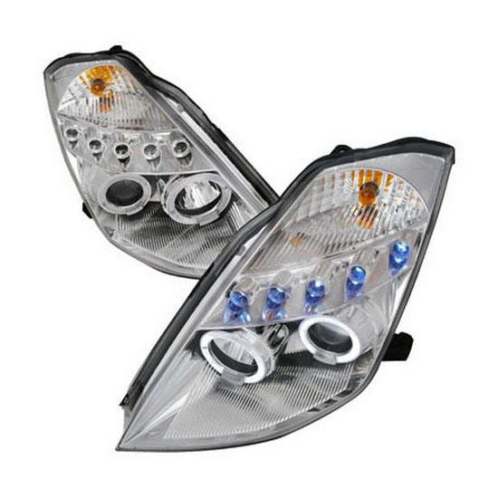 2003-2005 Nissan 350Z Chrome Housing Dual Halo Angel Eyes Projector LED Headlights