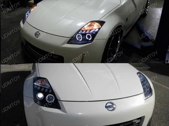 2LHP 350Z03JM TM 4 03 05 nissan 350z black dual halo angel eyes projector led headlights 2003 nissan 350z headlight wiring harness at virtualis.co