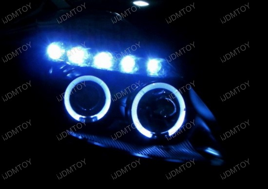 2003-2005 Nissan 350Z Black Housing Dual Halo Angel Eyes Projector LED Headlights