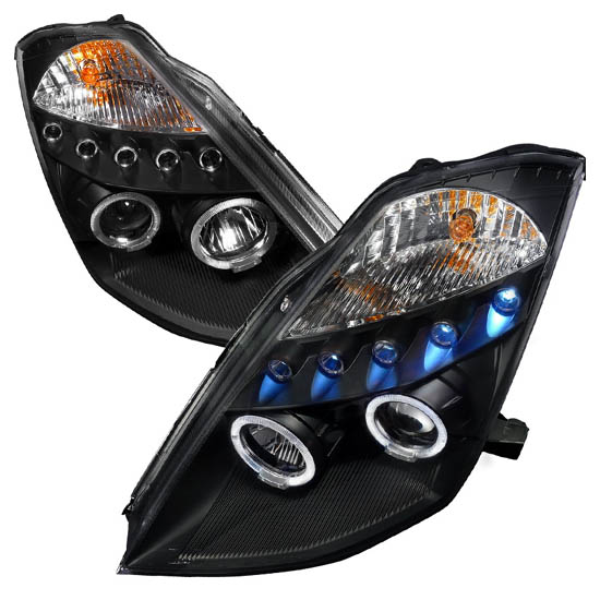 2003-2005 Nissan 350Z Black Housing Dual Halo Angel Eyes Projector LED Headlights
