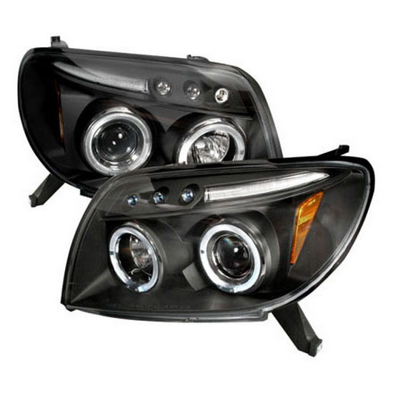 2003-2005 Toyota 4RUNNER Black Housing Dual Halo Angel Eyes Projector LED Headlights