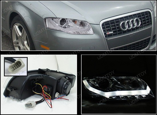 2LHP A406 8V2 TM 4 06 08 audi a4 chrome r8 style projector led daytime headlights