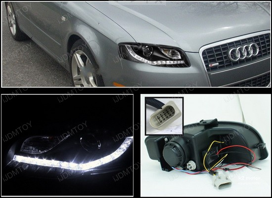Audi A Black R Projector LED Headlights - 2006 audi a4 headlights