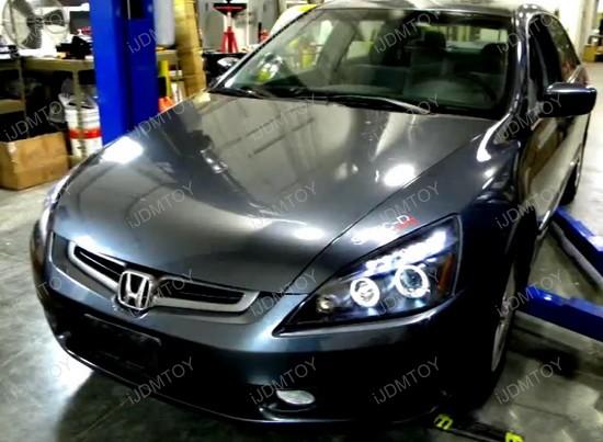 2003-2007 Honda ACCORD Chrome Housing Dual Halo Angel Eyes Projector LED Headlights