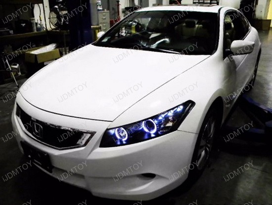 Great 2008 2012 Honda ACCORD Coupe Chrome Housing Dual Halo Angel Eyes Projector LED  Headlights