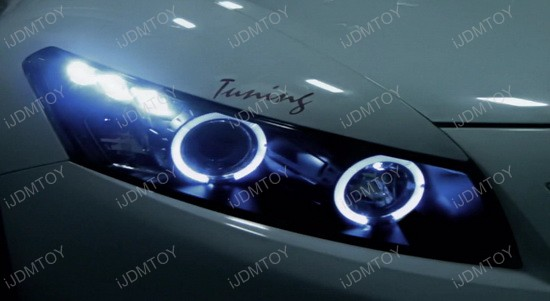 2008-2012 Honda ACCORD Coupe Chrome Housing Dual Halo Angel Eyes Projector LED Headlights