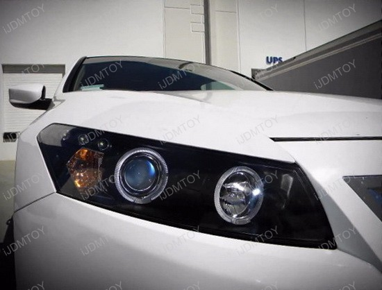 2008-2012 Honda ACCORD Coupe Chrome Housing Dual Halo Angel Eyes Projector LED Headlights