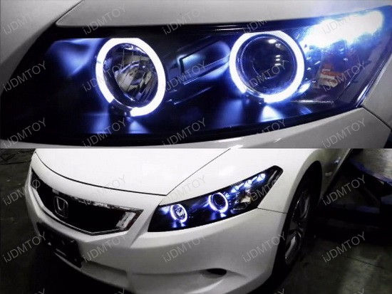 2008 12 Honda Accord Coupe Black Halo Angel Eyes Projector