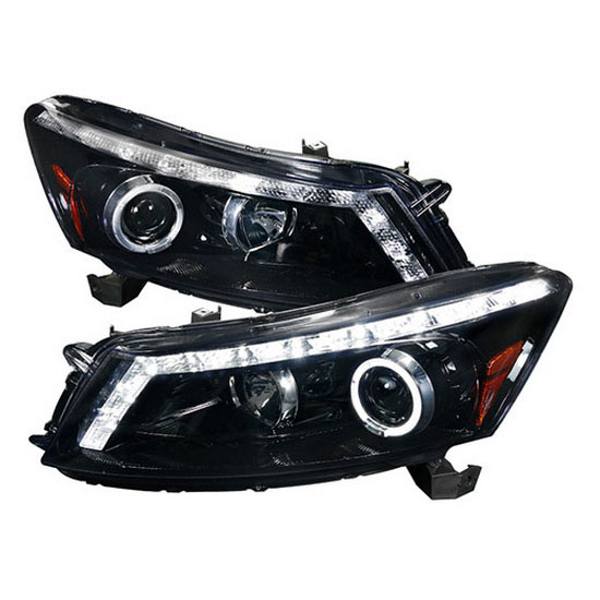 2008-2012 Honda ACCORD 4-DOOR Sedan Black Housing Smoke Lens Halo Rim Angel Eye Projector Headlights