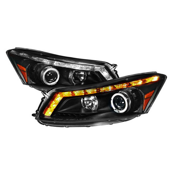 2008-2012 Honda ACCORD 4DR Sedan Black Housing Halo Rim Angel Eyes Projector LED Headlights