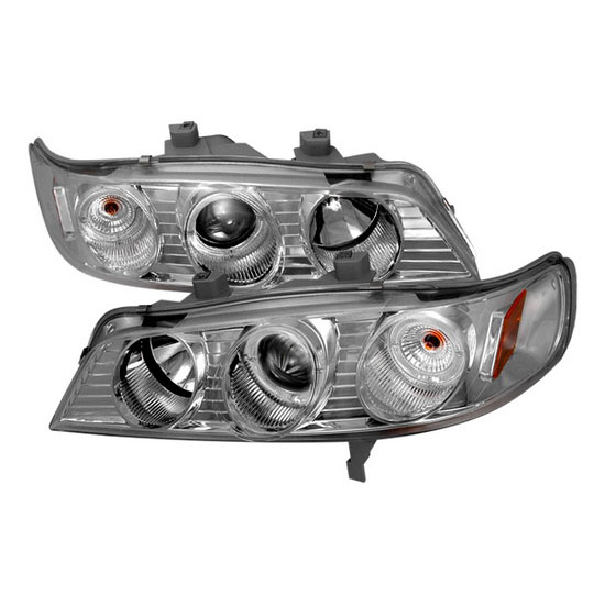 1994-1997 Honda ACCORD Chrome Housing Dual Halo Angel Eyes Projector Headlights