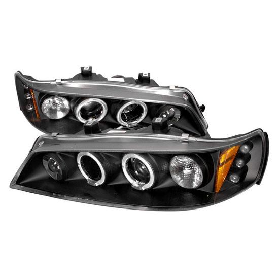 94-97 Honda ACCORD Black Housing Dual Halo Angel Eyes Projector LED Headlights