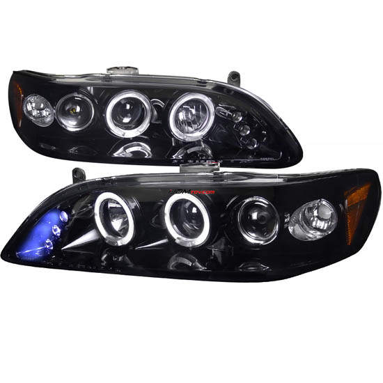 98-02 Honda ACCORD Black Housing Smoke Lens Dual Halo Angel Eyes Projector LED Headlights