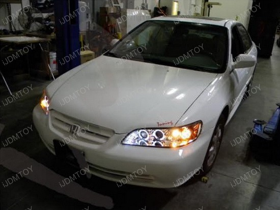 Custom 98 Honda Accord >> 98-02 Honda ACCORD Black Halo Angel Eyes Projector LED Headlights