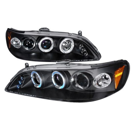 98-02 Honda ACCORD Black Housing Dual Halo Angel Eyes Projector LED Headlights
